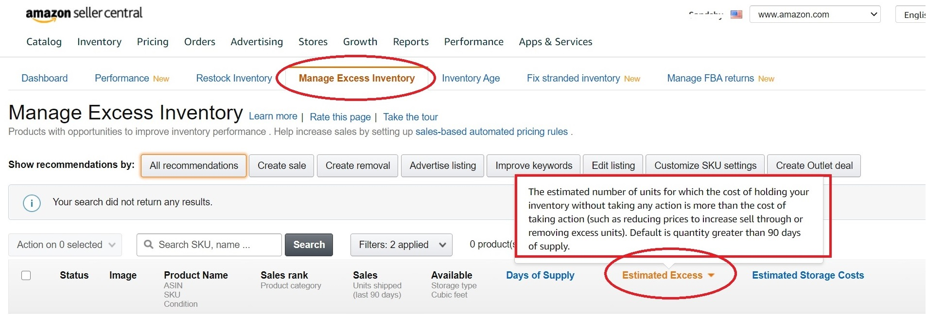 Amazon's tool Manage Excess Inventory