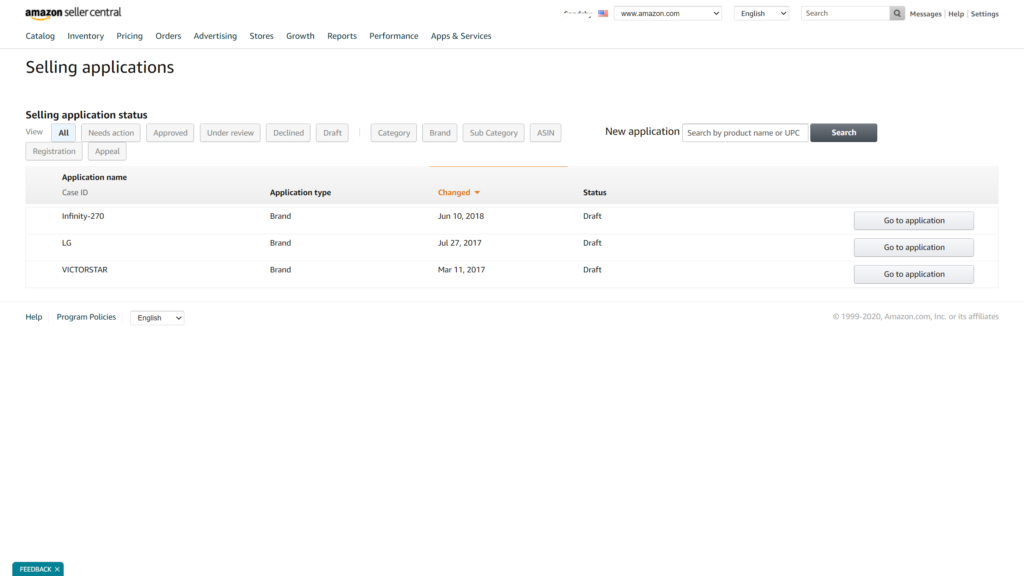 You can see the status of your selling applications in the Catalog tab.