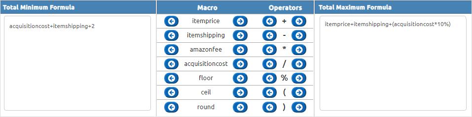 Set minimum and maximum prices by formula