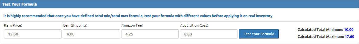 Profit based minimum and maximum configuration or profit based repricing